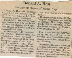 Hess, Donald A. 1999