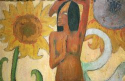 Gauguin, Caribbean Woman with a Sunflower, detail, Chicago