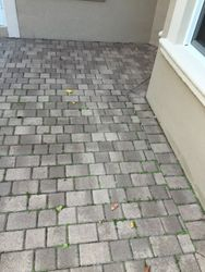 before pressure cleaning and sealing pavers