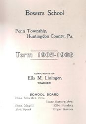Bowers School Booklet 1905-1906