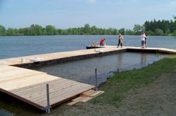 In one day, they built this beautiful dock!