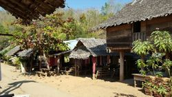 Village across river
