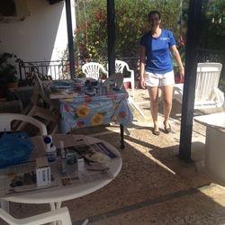 Zoe preparing for operations 'al fresco'