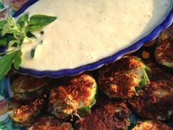 Zucchini Rounds with Caramelized Onion Dipping Sauce