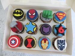 Avengers themed birthday cupcakes