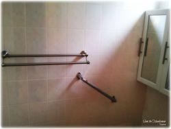 Bathroom fixtures on ceramic tiles installed