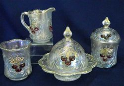 Wreathed Cherry 4pc. table set, white, red cherries and traces of gold, Dugan/Diamond