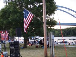 Old Glory proudly on display by the band