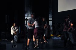 Rehearsing dance number