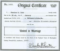 Simon Walter Shirk and Blanche Elizabeth Shingler Marriage Certificate