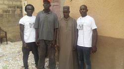 Tamsier Joof, Demba Sene, Professor Issa Laye Thiaw and Njaga Gaye at Prof. Thiaw's house in Diamagane