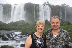 Lynda and Randy at Iguazu Falls from Brazilian side