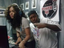 Demetria McKinney & DJ Remix at the 'Power 88- Morning Mayhem Show' on August 28, 2013 in Vegas.