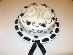Black & White Monogram Cake