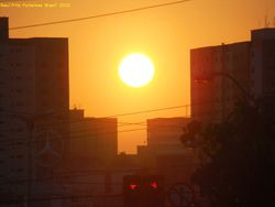 Sunset in Fortaleza City. The zoomed Sun disk.