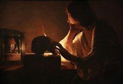 George de la Tour, Penitent Magdalen, detail, Washington
