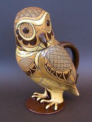 "3 tone yellow owl jug 11"" tall"