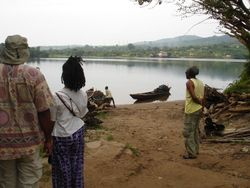 at the Volta river getting ready to board the canoe
