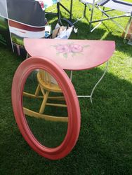 Hand painted Poppies Sidetable & Mirror