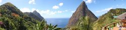 The view of the Pitons from Dasheene restaurant