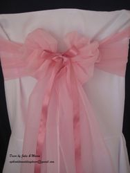 Pink wide voile with ribbon.