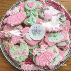 Girl Baby Shower Custom Cookies Platter
