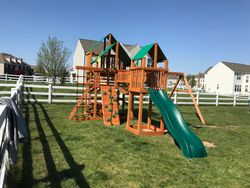 Gorilla treasure trove 1 cedar swing set installation in fairfax Virginia