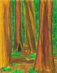 Sheltering Mysteries, Oil Pastel, 11x14, Original Sold
