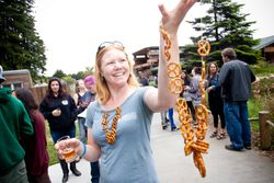 AAZK selling their handmade pretzel necklaces