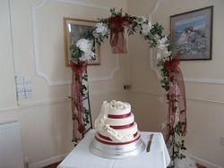 3 tier wedding cake with sugar lilies