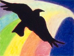 Raven Reveals The Night Rainbow, Oil Pastel, 11x14, Carrie MaKenna 1991