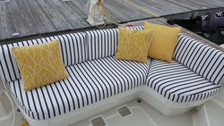 Bright pillows accentuate the aft deck