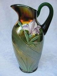 (Enameled) Iris water pitcher, green