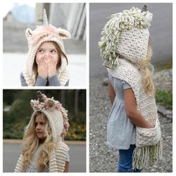 Unicorn Hat with scarf and pockets