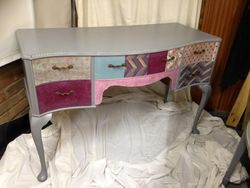 Grey patchwork dressing table