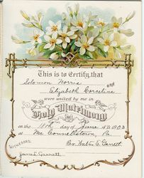 Marriage Certificate for Solomon Norris and Margaret Elizabeth Corcelius