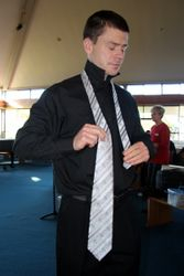 First showing of the new ties: how does that knot thingy work again?
