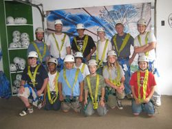 Zip liners prepare for their adventure
