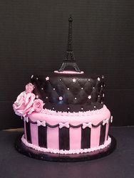 Paris Themed Cake Pink and Black