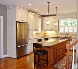 Painted & Glazed Cabinets With Stained Island