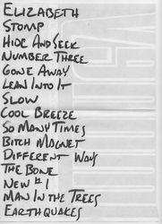 Setlist from Riverside. Newcastle, England 1988-10-02