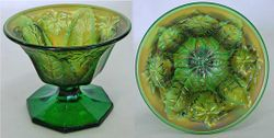 Leaf and Little Flowers sherbet shaped compote, green satin