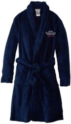 Luxurious and Plush Navy Velour Bathrobes with Embroidered logo.  1-Size Fits All