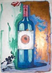 Wine bottle in blue