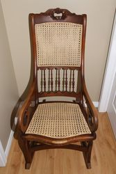 1860's G.P. Walters & Co. Hand Caned Rocking Chair