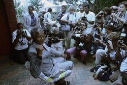 Mandela at a news conference