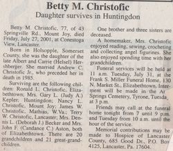 Christofic, Betty M. Hershberger 2001