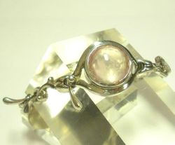 09-00130a Rose Quartz Faceted Sterling Link Bracelet