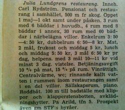 Julia Lundgrens restaurang 1949