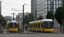 Adtranz and Flexity trams at Mollstraße.